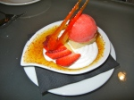 Creme Brulee w. Strawberry Sorbet
